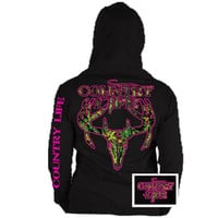 Country Life Outfitters Black & Pink Camo Realtree Deer Skull Head Hunt Vintage Hoodie