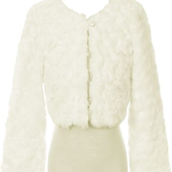 Ivory Fur Cropped Length Jacket with Pearl Button Closure & Satin Lining (Girls 2T to Size 12)