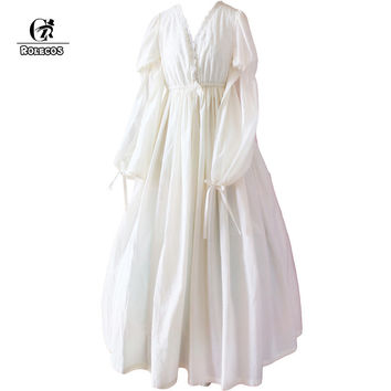 ROLECOS Lace Dress Vintage Women Chiffon Dress White Retro Lolita Princess Cotton Nightgowns Sleepshirts Women Free Size SSL01