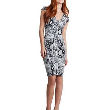 Donna Morgan Graphic Print and Ruched Bodycon Dress