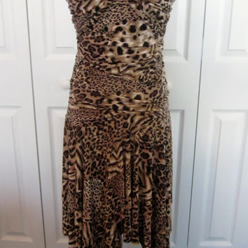 Vintage Leopard Print Dress AGB Stretch Dress Built in Bra Strapless with Tie Around Neck Full Handkerchief Skirt Made in USA Womens 8