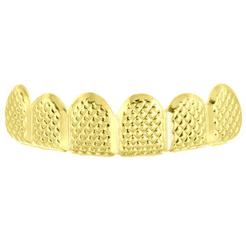 Designer Solid Top Teeth Grillz 14k Yellow Gold Finish