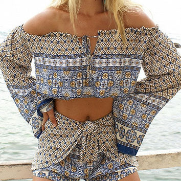 Multicolor Lace Up Off Shoulder Tribal Print Flared Sleeve Top and Shorts Combi