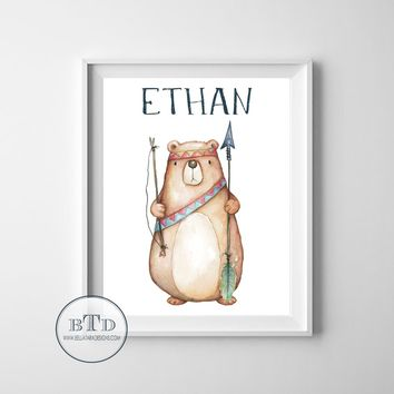 Woodland Bear Wall Art Baby Boy Nursery Wall Art Bear Nursery Wall Art Prints Tribal Arrow Feather Baby Boy Blue Woodland Boho Kids Room Bedroom Decor