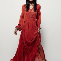 2016 New vintage party dress women's fall boho embroidery Bohemian split maxi long dresses people hippie loose dress