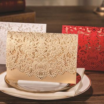 (50 pieces/lot) Classic Lace Flower Design Invitation Card Personalized Printing Romantic Gold Wedding Invitations Cards CW072