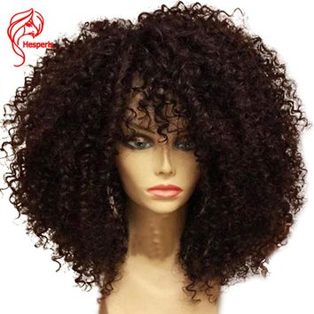 Hesperis Afro Kinky Curly Pre Plucked Lace Front Human Hair Wigs With Baby Hair For Black Women 130 denistity Brazilian Lace Wig