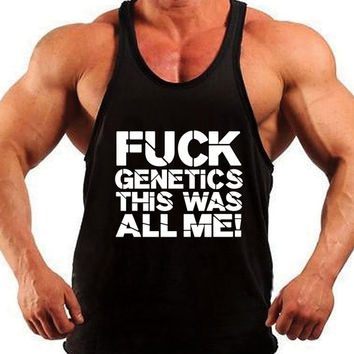 F*ck Genetics. Mens Workout Tank Top. Fitness Tank. Racerback Tank. Muscle Tank. Mens Fitness. Gym Tank Top. Workout Shirt. Fitness Apparel