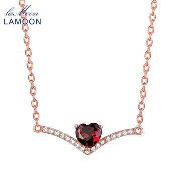 LAMOON Heart Red Garnet 925 Sterling-silver-jewelry Chain Pendant Necklace For Women Fine Jewelry Rose Gold Collares LMNI044