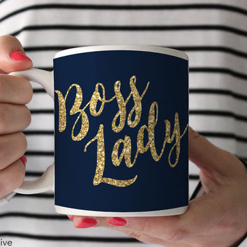 Boss Lady Coffee Mug - Faux Gold Glitter on Navy - Q0003