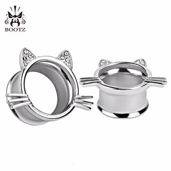 silver cat style fashion body jewelry ear tunnel plugs piercing gauges expander 2pcs lot pair selling