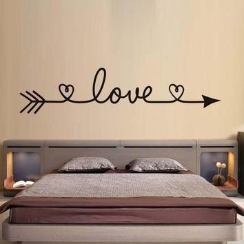 DCTOP Love Arrow Wall Stickers Romantic Bedroom Decals Vinyl Removable Wallpaper Home Decoration Living Room Decal New Arrival