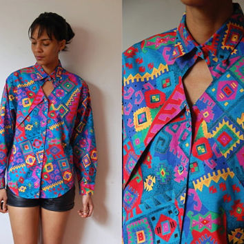 Vtg Keyhole Chest Bold Southwest Print LS Button Down Cotton Shirt
