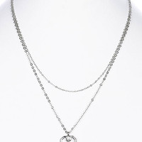 NECKLACE / DOUBLE LAYERED / ASSCHER SHAPED PENDANT / CRYSTAL STONE / LINK / CHAIN / 16 INCH LONG / 1 3/4 INCH DROP / NICKEL AND LEAD COMPLIANT