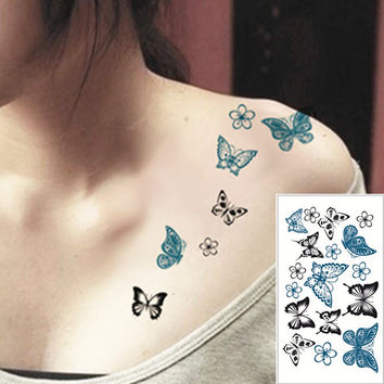 25 Style Mini Temporary Tattoo Body Art Black butterfly Designs Flash Tattoo Sticker Keep 3-5 days Waterproof 10.5*6cm
