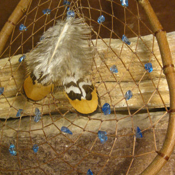 Large DreamCatcher, Native American, Natural Wood, Teardrop Shaped Blue glass and Lapis, Hand Woven from The Hidden Meadow