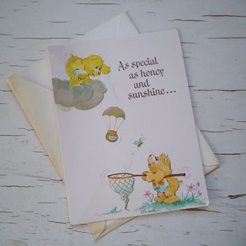Vintage American Greeting Care Bear Card
