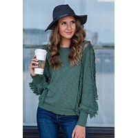 Let The Music Play Fringe Sleeve Sweater : Fig