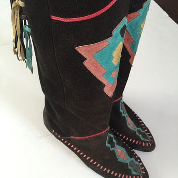 80s suede Leather Tribal Moccasin Boots Size 7 | Native American knee high black suede boots | aztec fringe boots tall hippie boho chic 70s