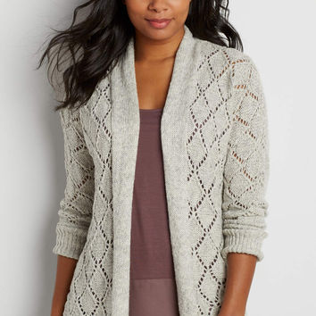 diamond stitched cardigan with metallic shimmer | maurices