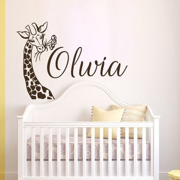 Girl Name Wall Decals Giraffe Personalized Decal Safari Vinyl Stickers Kids Nursery Home Bedroom Africa Decor T128