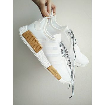 "Women Men ""Adidas"" NMD Boots Casual Sports Shoes White-Gold I"