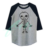 Skull boy shirt raglan shirt for kids toddlers boys girls tops Baby clothes **Halloween shirt