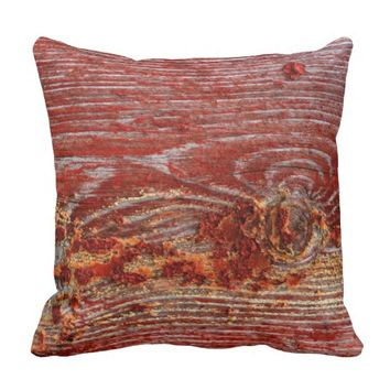 Vintage Deep Rustic Red Shabby Grunge Design Throw Pillow