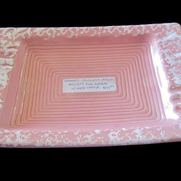 California Original Mid-Century Pink and White Speckled Large Ceramic Rectangle Ashtray