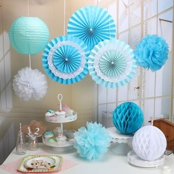 9-Piece Blue Party Decoration Set-DIY Boys Birthday Party | Boys Baby Shower | Bridal Shower | Hanging Decoration Party Set