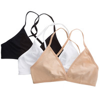 Cotton Spandex Jersey Cross-Back Bra (3-Pack) | American Apparel