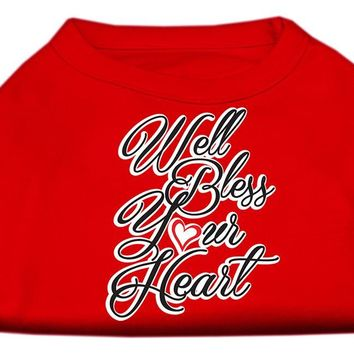 Well Bless Your Heart Screen Print Dog Shirt Red Med (12)