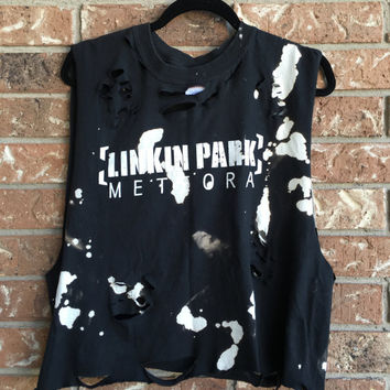 LINKIN PARK Bleached, distressed,cropped  band concert T  shirt