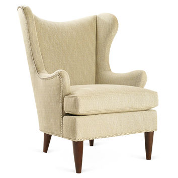 Elana Wingback Chair, Gray Tweed, Wingbacks