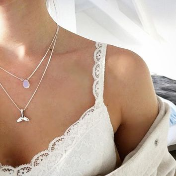 STYLEDOME Mermaid Necklace - Moonstone necklace and Mermaid tail silver tone layered necklace  XL769