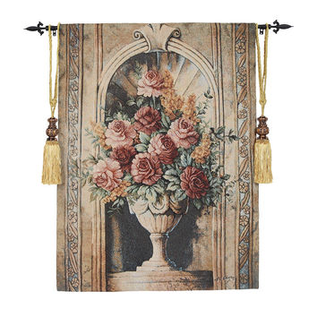 90*126cm Vintage Porcelain Flowers Gobelin Wall Tapestry Fabric Moroccan Decor Medieval Hanging Wall Tapestries Paintings tapiz