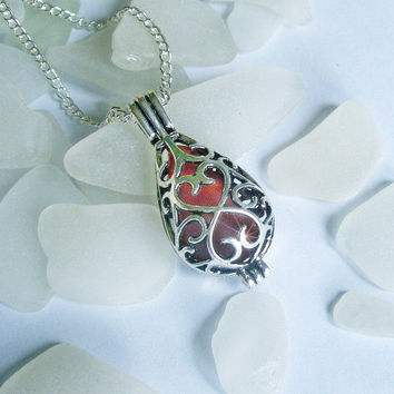 Sea glass necklace. Red sea glass locket beach glass jewelry.