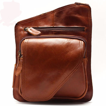High Quality Vintage Casual Crazy Horse Leather Genuine Cowhide Men Chest Bag Small Messenger Bags For Men - Bolsa para Hombres