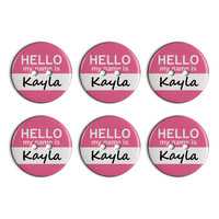 Kayla Hello My Name Is Plastic Resin Button Set of 6
