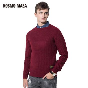 Cotton O-Neck Full Pullover Sweater For Men Autumn Winter Jumpers Jacquard Christmas Slim Men's Sweaters
