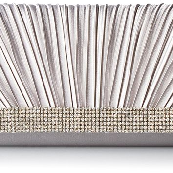 Jessica McClintock Chloe Womens Satin Pleated Rhinestone Evening Clutch Bag With Shoulder Chain Included