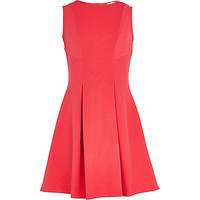 River Island Girls pink ribbed fit and flare dress