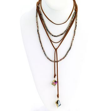 Multi-Wrap Leather Necklace with Faceted Beads