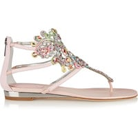 René Caovilla - Crystal-embellished metallic karung wedge sandals