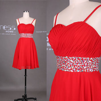 Red Sweetheart Spaghetti Straps Beading Belt Short Prom Dress/Sexy Short Party Dress/Homecoming Dress/Bridesmaid Dress/Red Short Dress DH369