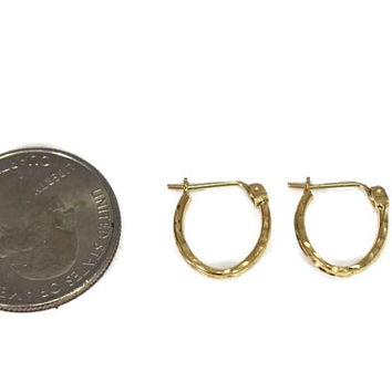 14k Gold Oval Hoops Dainty, Small Gold Hoops, Girls 14k Gold Earrings, Small 14k Hoop Earrings