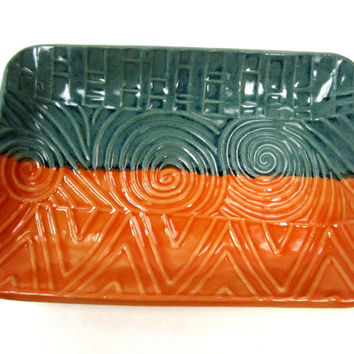 Teal Orange Dish, Boho Decor, Candy Dish, Trinket Dish, Teal Orange Plate, Jewelry Dish, Orange Dish, Teal Orange Pottery, Boho Room Decor