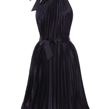 Black Halterneck Pleated Mini Dress
