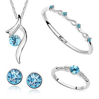 Fashion white gold plated austrian crystal pendant Necklace/Earring/Bracelet/Ring women Stars shining bride wedding Jewelry Sets