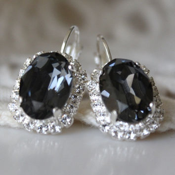 Black Diamond Earrings, Swarovski Crystal, Oval Earrings, Halo Rhinestone Leverback Earrings, Dark Grey Earrings, Silver Night, Rhinestone